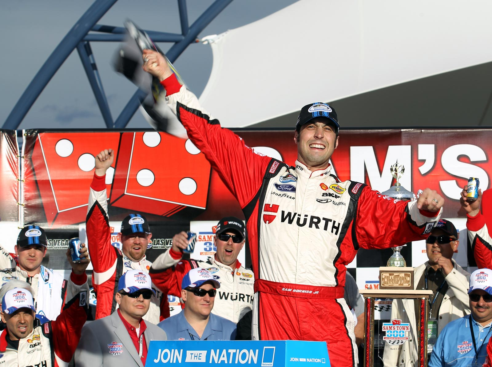 Sam-Hornish-Jr-victory-lane-Nationwide-Sams-town-300-nascar-las-vegas-saturday