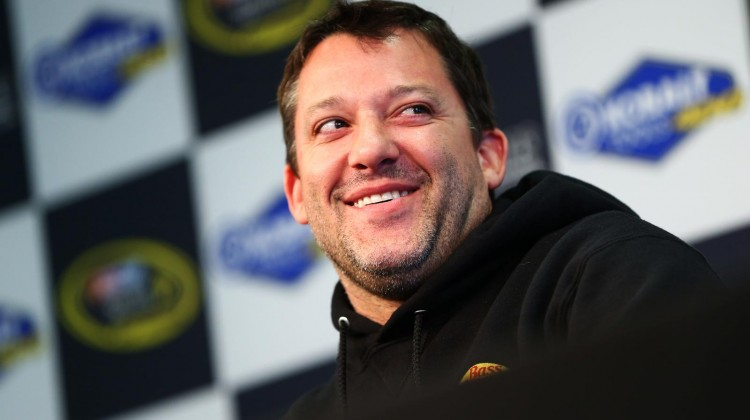 Tony Stewart, driver of the #14 Mobil 1 Racing/Bass Pro Shops Chevrolet, speaks to the media during a rain delay of practice for the NASCAR Sprint Cup Series at Las Vegas Motor Speedway on March 8, 2013 in Las Vegas, Nevada. (Photo by Sean Gardner/NASCAR via Getty Images)