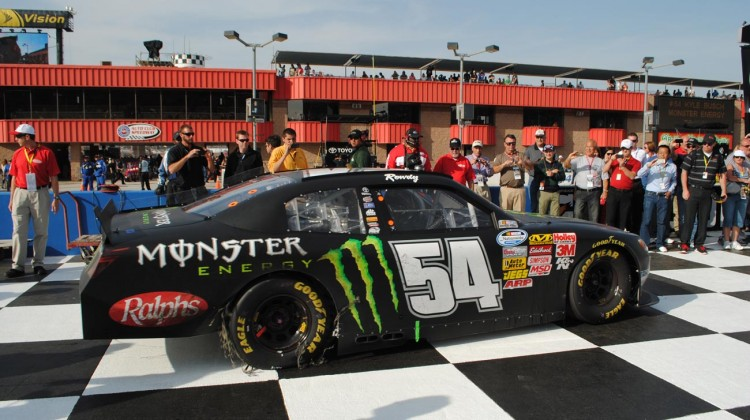 Kyle Busch rolls into victory lane. (Credit: Heather Baker / The Fast and the Fabulous)
