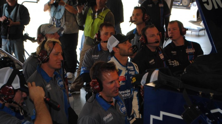 The No. 48 Lowes team watches the monitors in the garage at Auto Club Speedway. Also, Ron Malec!!  :) (Credit: Heather Baker / The Fast and the Fabulous)