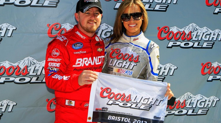 Justin Allgaier, driver of the #31 Brandt Chevrolet, poses in Victory Lane after qualifying for the pole position for the NASCAR Nationwide Series Jeff Foxworthy's Grit Chips 300 at Bristol Motor Speedway on March 16, 2013 in Bristol, Tennessee. (Photo by Sean Gardner/Getty Images for NASCAR)