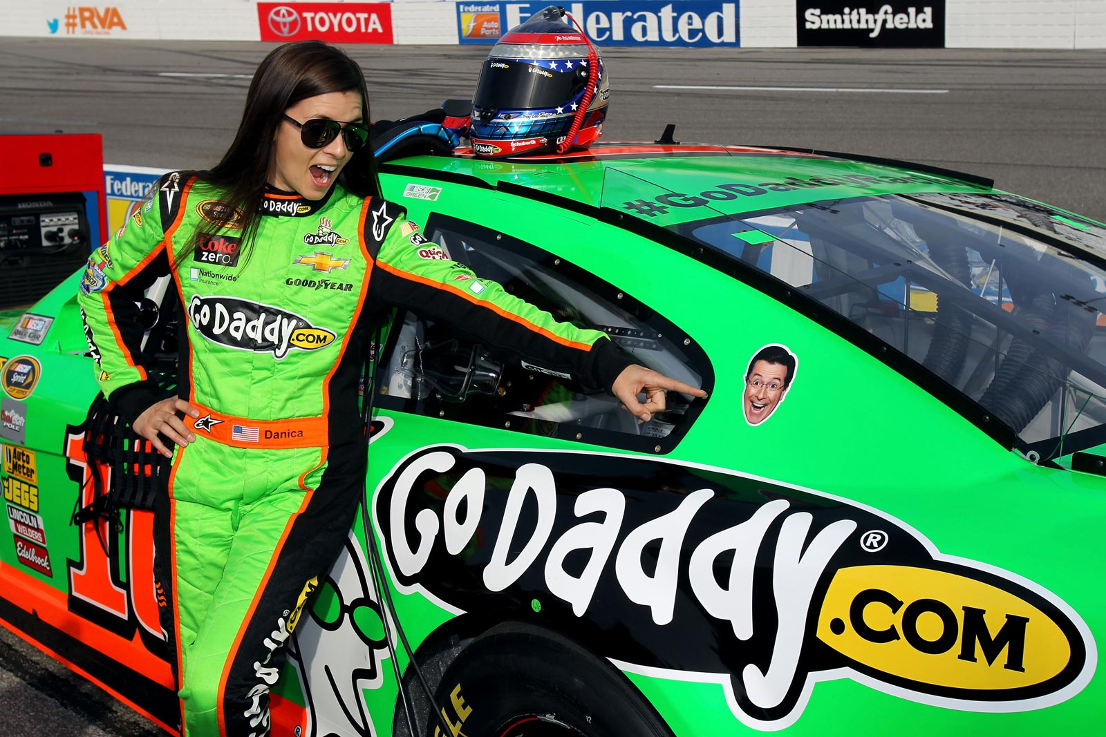 2-Stephen-Colbert-Danica-Patrick-NASCAR-Sprint-Cup-Series-2013-Richmond-1-Friday