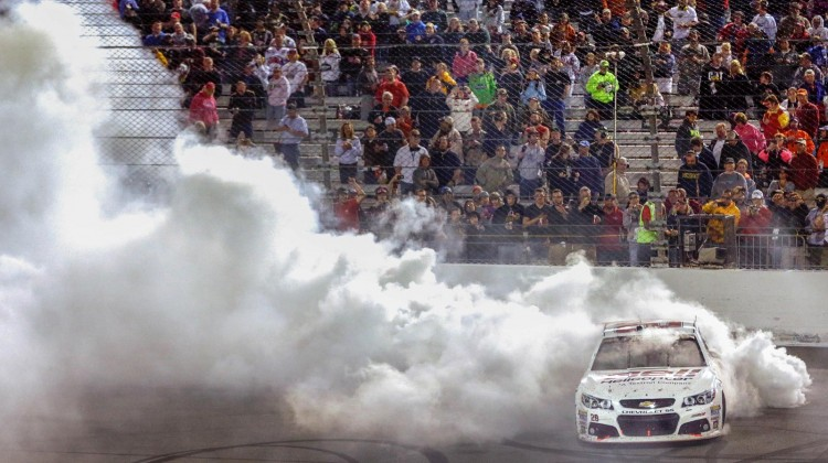 Kevin Harvick, driver of the NASCAR Sprint Cup #29 Bell Helicopter Chevrolet SS celebrates his win with a burnout at the Toyota Owners 400 Saturday, April 27, 2013 at Richmond International Raceway in Richmond, Virginia. (Photo by Harold Hinson for Chevrolet)