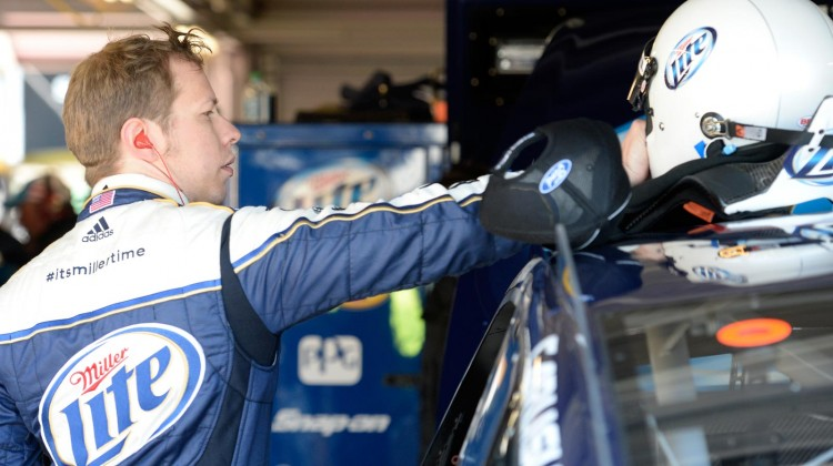 Brad Keselowski, driver of the #2 Miller Lite Ford, prepares to drive during practice for the NASCAR Sprint Cup Series STP 400 at Kansas Speedway on April 19, 2013 in Kansas City, Kansas. (Photo by John Harrelson/NASCAR via Getty Images)
