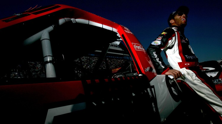 Darrell Wallace Jr., driver of the #54 Toyota Care Toyota, looks on after practice for the NASCAR Camping World Truck Series Kroger 250 on April 5, 2013 at Martinsville Speedway in Ridgeway, Virginia. (Photo by Jared C. Tilton/NASCAR via Getty Images)