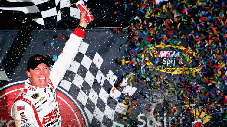 Kevin Harvick, driver of the #29 Bell Helicopter Chevrolet, celebrates in Victory Lane after winning the NASCAR Sprint Cup Series Toyota Owners 400 at Richmond International Raceway on April 27, 2013 in Richmond, Virginia. (Credit: Streeter Lecka/Getty Images)