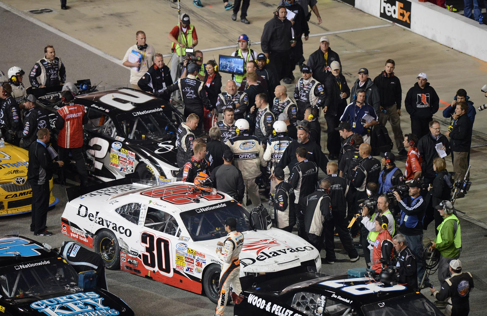 Nelson-Piquet-Brian-Scott-Post-Race-NASCAR-Nationwide-2013-Richmond-1-Friday