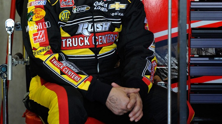 Tony Stewart, driver of the #14 Rush Truck Centers/Mobil 1 Chevrolet, sits in the garage area during practice for the NASCAR Sprint Cup Series STP Gas Booster 500 on April 6, 2013 at Martinsville Speedway in Ridgeway, Virginia. (Photo by Rainier Ehrhardt/NASCAR via Getty Images)