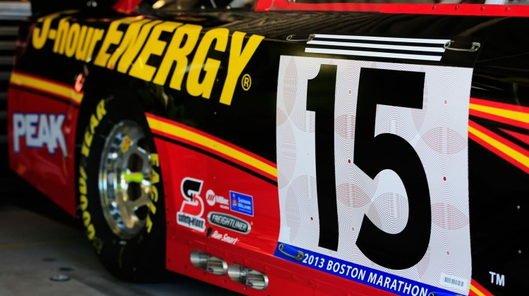 The #15 5-hour ENERGY Toyota of Clint Bowyer pays tribute to victims of the attack on the Boston Marathon during practice for the NASCAR Sprint Cup Series STP 400 at Kansas Speedway on April 19, 2013 in Kansas City, Kansas. (Photo by Jamie Squire/Getty Images)