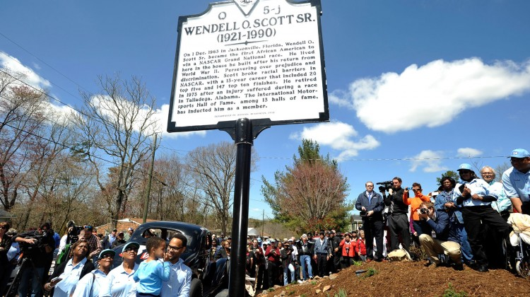 A historical marker in honor of former NASCAR driver Wendell O. Scott Sr. is seen on April 5, 2013 in Danville, Virginia. (Photo by Rainier Ehrhardt/NASCAR via Getty Images)