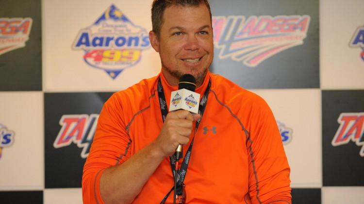 Chipper Jones, former Atlanta Braves player and grand marshall for todays race, speaks with the media prior to the NASCAR Sprint Cup Series Aaron's 499 at Talladega Superspeedway on May 5, 2013 in Talladega, Alabama. (Credit: Jared C. Tilton/Getty Images)