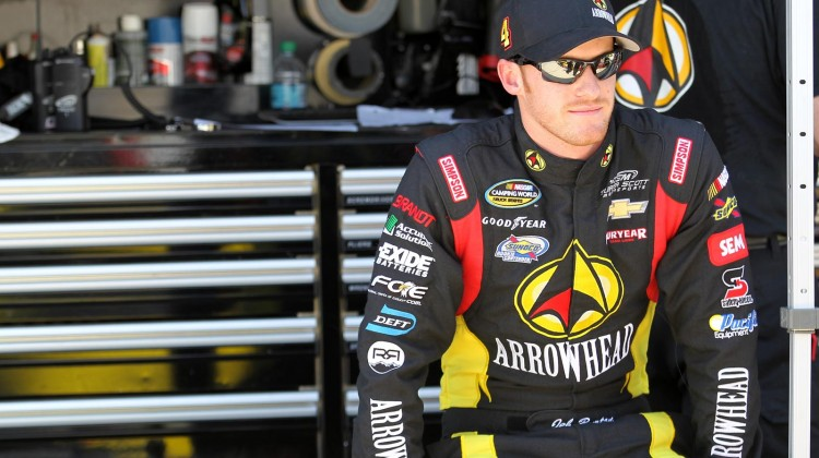 Jeb Burton, driver of the #4 Arrowhead Chevrolet, looks on from pit road during practice for the NASCAR Camping World Truck Series Lucas Oil 200 at Dover International Speedway on May 30, 2013 in Dover, Delaware. (Photo by Todd Warshaw/NASCAR via Getty Images)