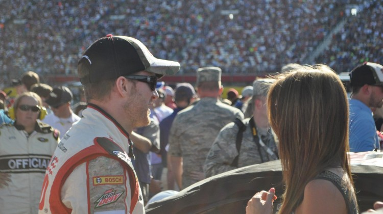 Dale Earnhardt Jr. and Amy Reimann  at the Coca Cola 600 (Credit: Sumer Purcell)