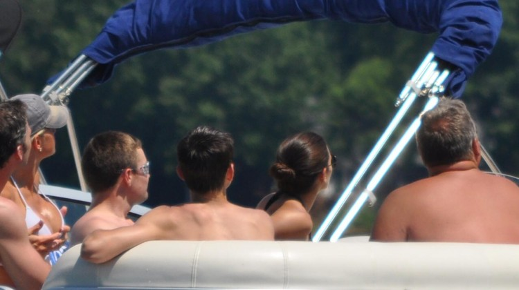 Danica Patrick and Ricky Stenhouse Jr. on Lake Norman in Charlotte, N.C. (Credit: Sumer Purcell)