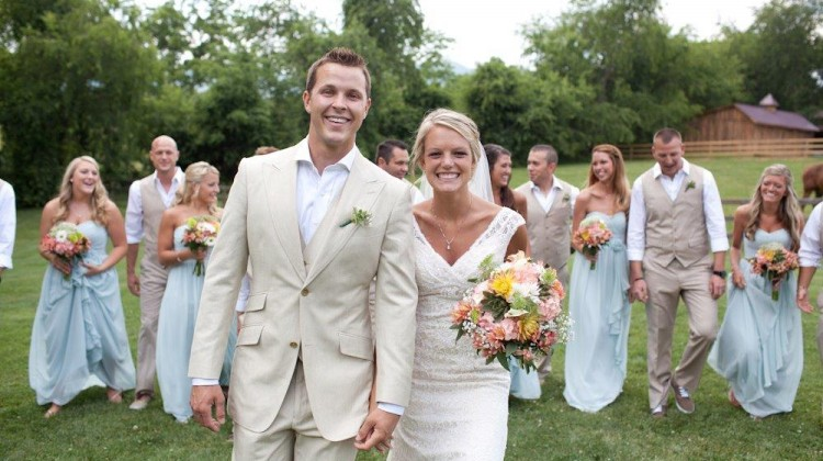 NASCAR driver Trevor Bayne and Ashton Clapp exchanged vows on Tuesday, June 4, 2013, in Asheville, N.C. (Credit: Lori Hensley Photography)