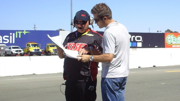 JJ Yeley goes over notes during practice at Sonoma Raceway on Friday, June 21, 2013. (Credit: The Fast and the Fabulous)