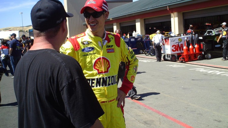 Joey Logano chats with a dude at Sonoma Raceway on Friday, June 21, 2013. (Credit: The Fast and the Fabulous)