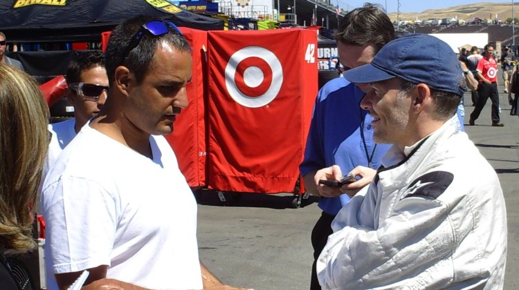 Juan Pablo Montoya and Jacques Villenueve chat at Sonoma Raceway on Friday, June 21, 2013. (Credit: The Fast and the Fabulous)