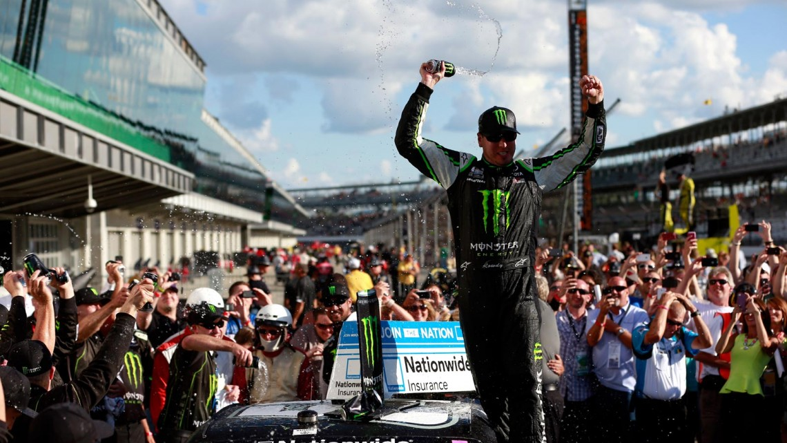 Kyle Busch, driver of the #54 Monster Energy Toyota, celebrates in victory lane after winning the NASCAR Nationwide Series Indiana 250 at Indianapolis Motor Speedway on July 27, 2013 in Indianapolis, Indiana. (Credit: Chris Trotman/Getty Images)