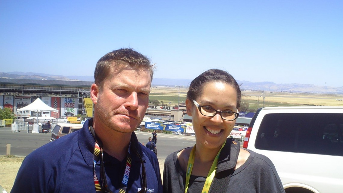 Me with Dale Earnhardt Jr.'s look-a-like at Sonoma Raceway on June 22, 2013 (Credit: The Fast and the Fabulous)