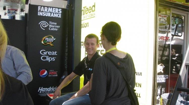 Here I am explaining the Hottest NASCAR Driver Tournament to Kasey Kahne at Sonoma Raceway on June 22, 2013 (Credit: The Fast and the Fabulous)