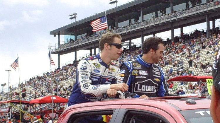 Brad Keselowski and Jimmie Johnson (right) at Sonoma Raceway on Sunday, July 23, 2013. (photo credit: The Fast and the Fabulous)