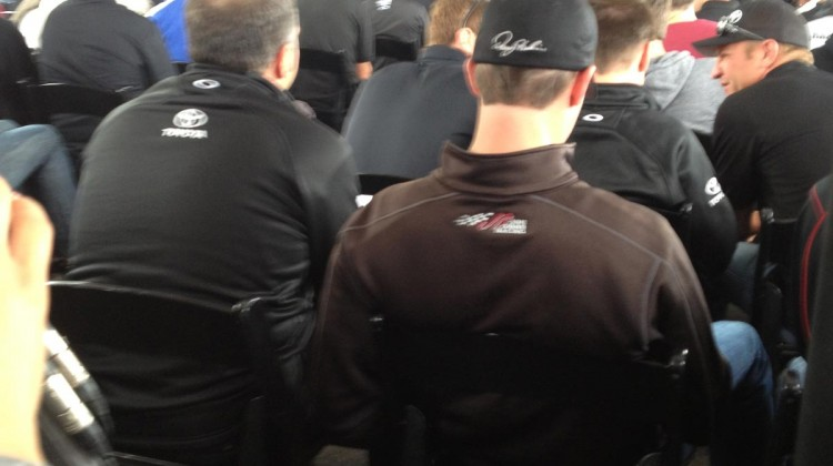 The back of Darian Grubb and Denny Hamlin before the start of the driver's meeting at Sonoma Raceway on Sunday, July 23, 2013. (photo credit: The Fast and the Fabulous)