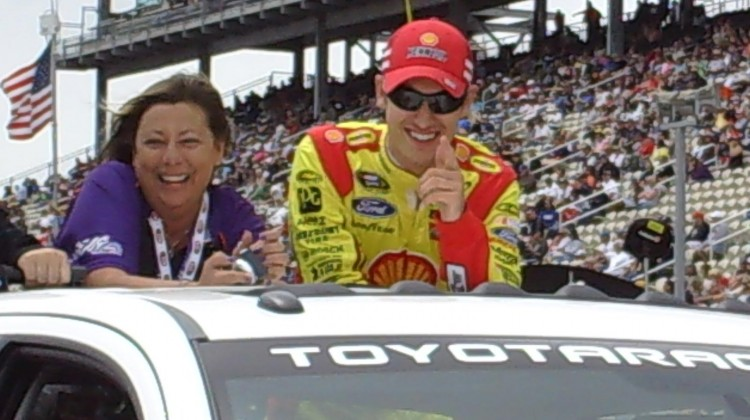 Here's looking at you kid! Joey Logano at Sonoma Raceway on Sunday, July 23, 2013. (photo credit: The Fast and the Fabulous)