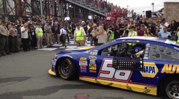 Martin Truex Jr. rides into Victory Lane at Sonoma Raceway on Sunday, July 23, 2013. (photo credit: The Fast and the Fabulous)
