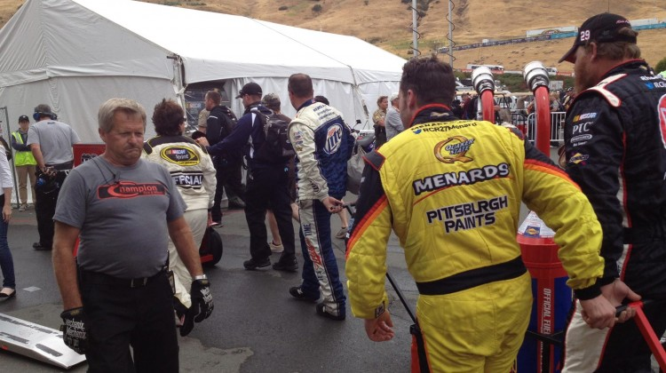 Paul Menard helped his crew pull the gas cans back to the garage post-race at Sonoma Raceway on Sunday, July 23, 2013. (photo credit: The Fast and the Fabulous)