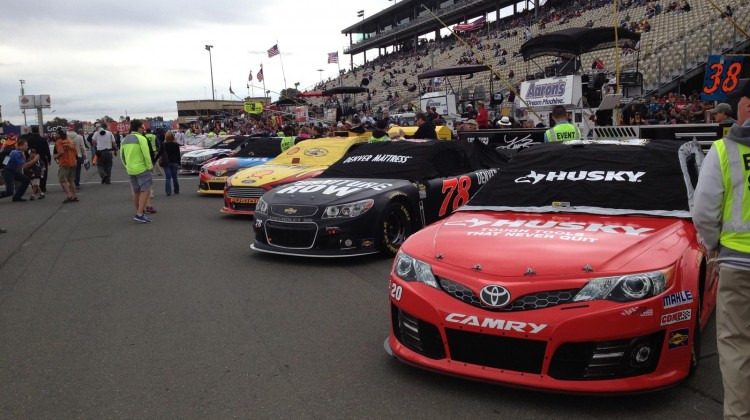 The cars were all lined up on pit road before the start of the Toyota/Save Mart 350 at Sonoma Raceway on Sunday, July 23, 2013. (photo credit: The Fast and the Fabulous)