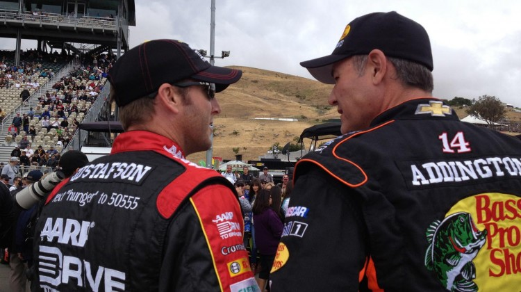 Crew chiefs Alan Gustafson and Steve Addington chat before the start of the Toyota/Save Mart 350 at Sonoma Raceway on Sunday, July 23, 2013. (photo credit: The Fast and the Fabulous)