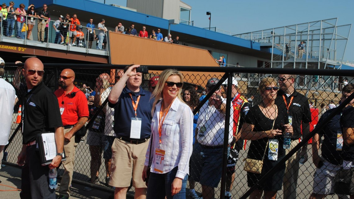 Actress Amy Smart (her husband is Carter Oosterhouse) at Michigan International Speedway in Brookyln, MI (Credit: Heather Baker for The Fast and the Fabulous)
