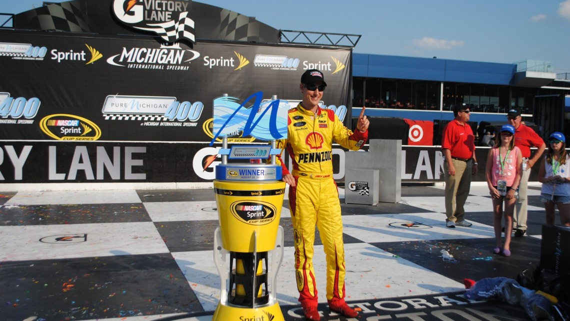Joey Logano at Michigan International Speedway in Brookyln, MI (Credit: Heather Baker for The Fast and the Fabulous)