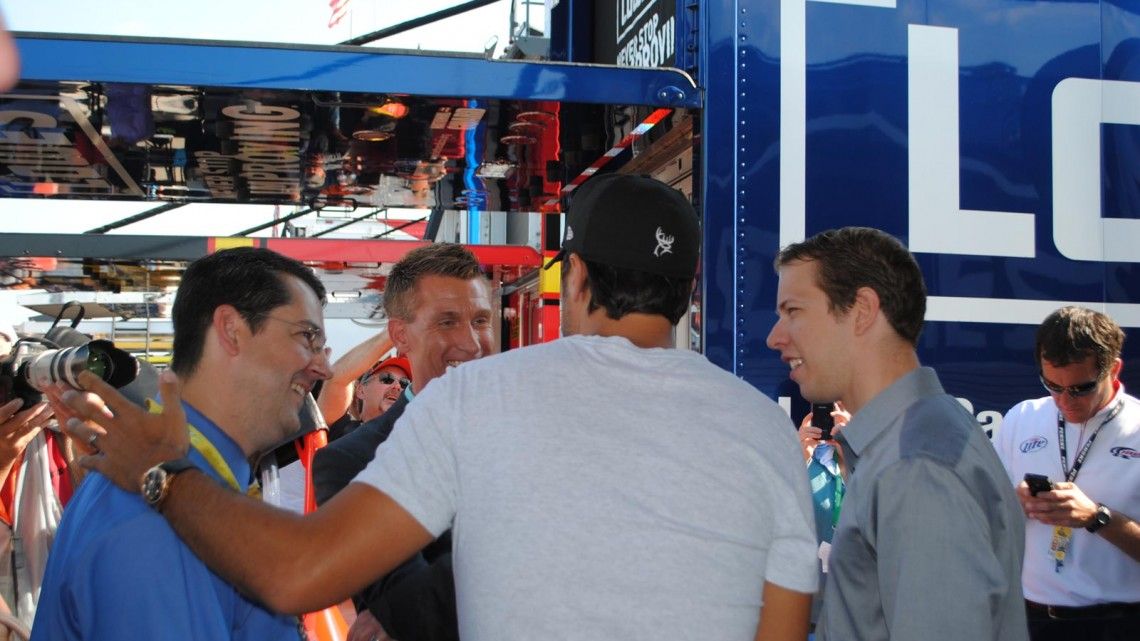 Country music artist Luke Bryan chats with ESPN's Ryan McGee & Marty Smith and Brad Keselowski at Michigan International Speedway in Brookyln, MI (Credit: Heather Baker for The Fast and the Fabulous)