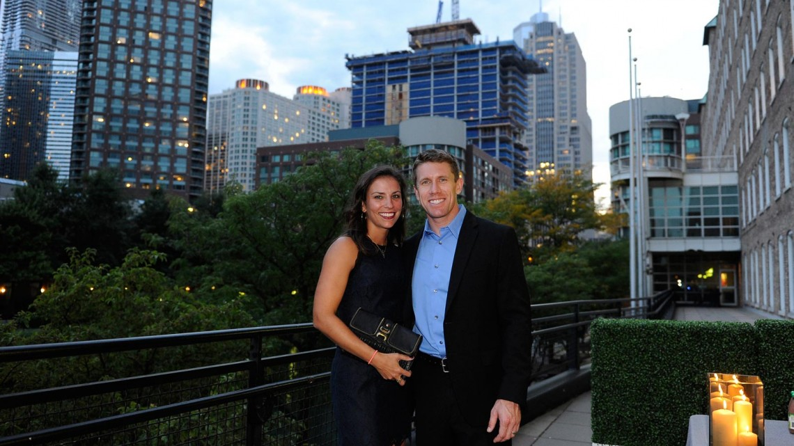 NASCAR driver Carl Edwards (R) and his wife Katie Edwards at the NASCAR dinner on September 11, 2013 in Chicago, Illinois. (Credit: David Banks/ NASCAR via Getty Images)