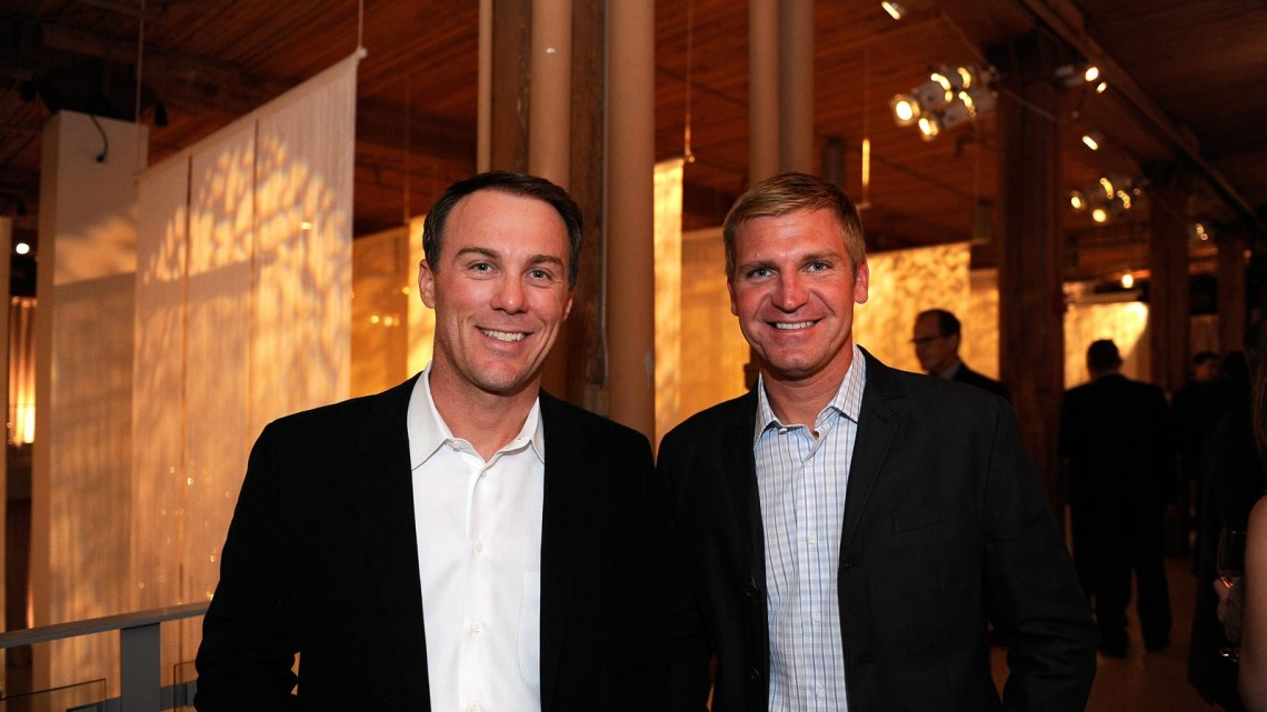 NASCAR drivers Kevin Harvick (L) and Clint Bowyer at the Chase Drivers Dinner on September 11, 2013 in Chicago, Illinois. (Credit: David Banks/ NASCAR via Getty Images)