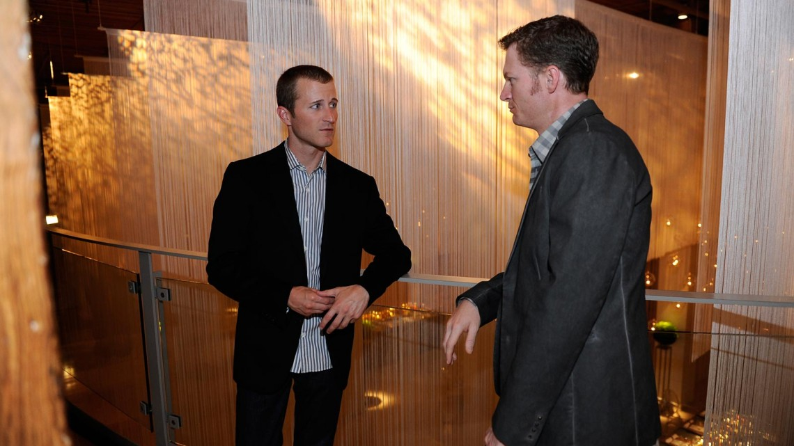 NASCAR drivers Kasey Kahne (L) and Dale Earnhardt Jr. at the Chase Drivers Dinner on September 11, 2013 in Chicago, Illinois. (Credit: David Banks/ NASCAR via Getty Images)