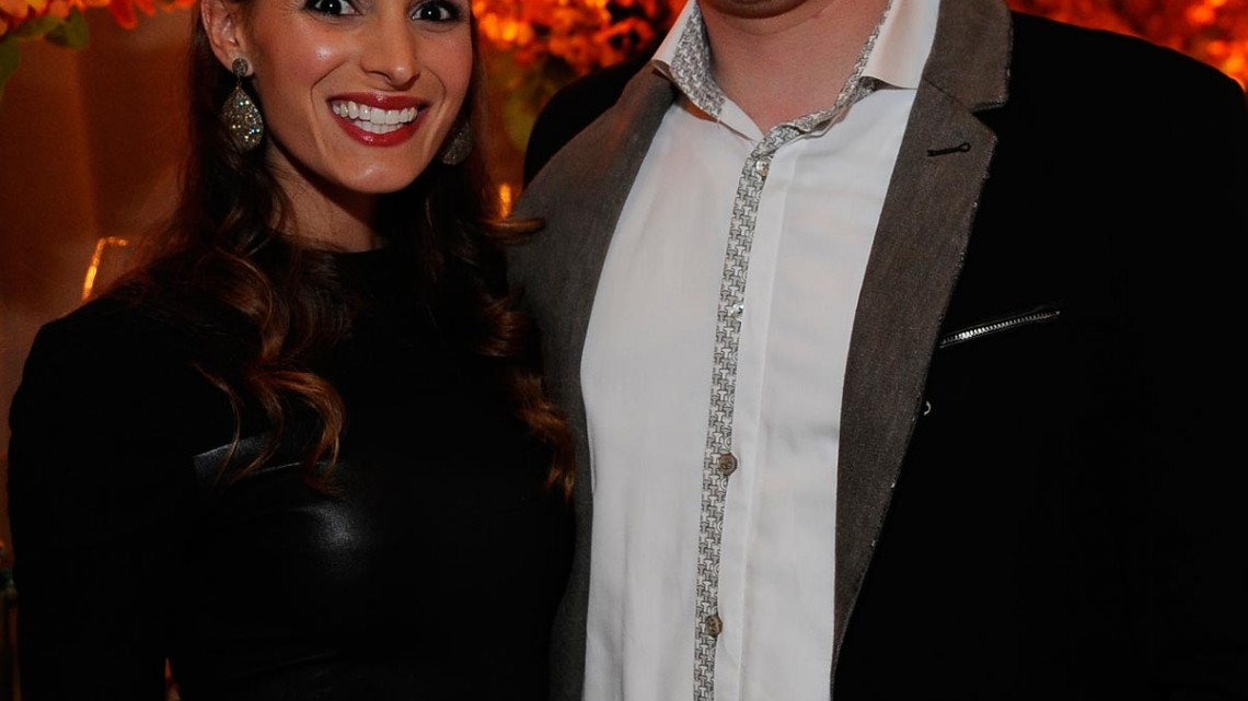 NASCAR driver Kyle Busch (R) his wife Samantha Busch at the Chase Drivers Dinner on September 11, 2013 in Chicago, Illinois. (Credit: David Banks/ NASCAR via Getty Images)