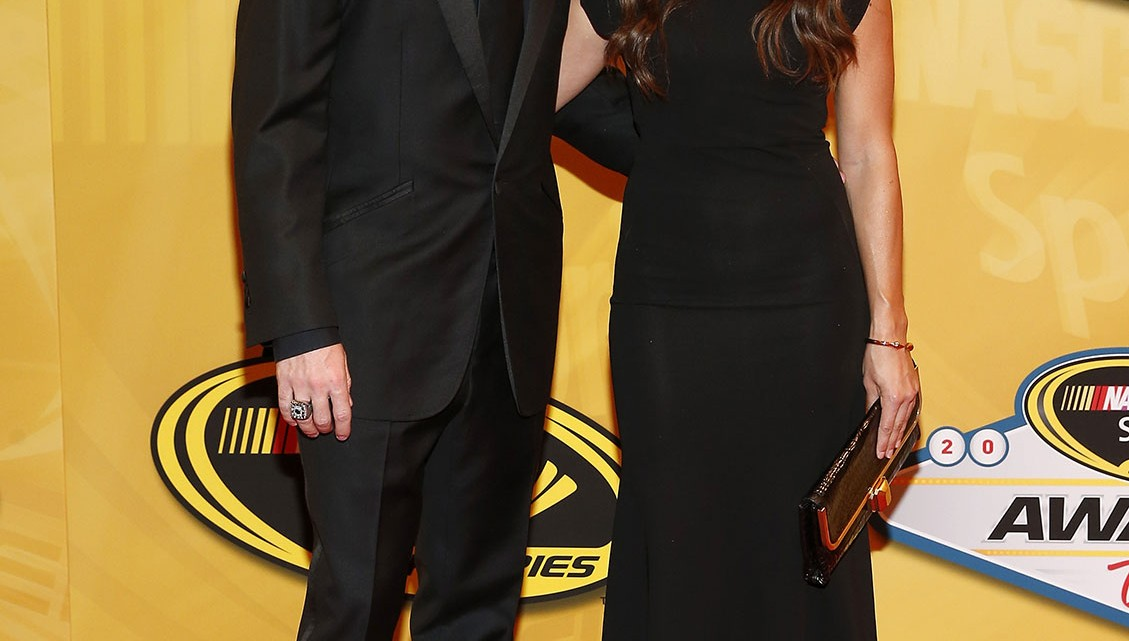 NASCAR Sprint Cup Series drivers Ricky Stenhouse Jr. and Danica Patrick arrive on the red carpet for the NASCAR Sprint Cup Series Champion's Awards at Wynn Las Vegas on December 6, 2013 in Las Vegas, Nevada.  (Credit: NASCAR via Chris Graythen/Getty Images)