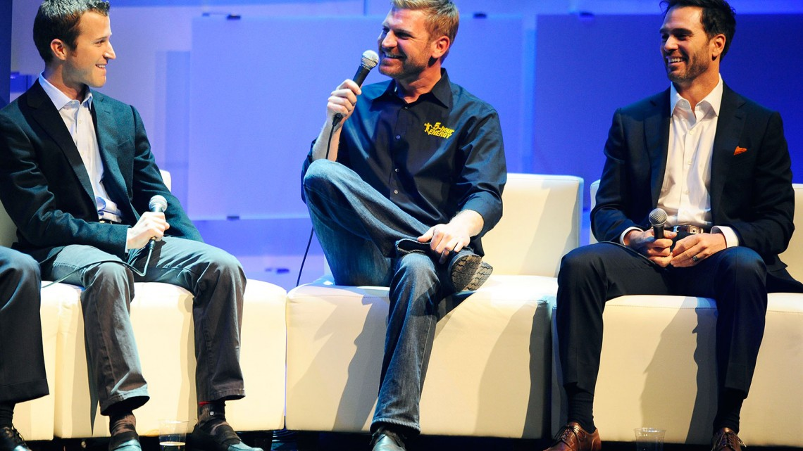 NASCAR Sprint Cup Series drivers (L-R) Kasey Kahne, Clint Bowyer and Jimmie Johnson speak during NASCAR After The Lap at the Pearl Palms Concert Theater inside the Palms Casino Hotel on December 5, 2013 in Las Vegas, Nevada. (Credit: NASCAR via Getty Images)