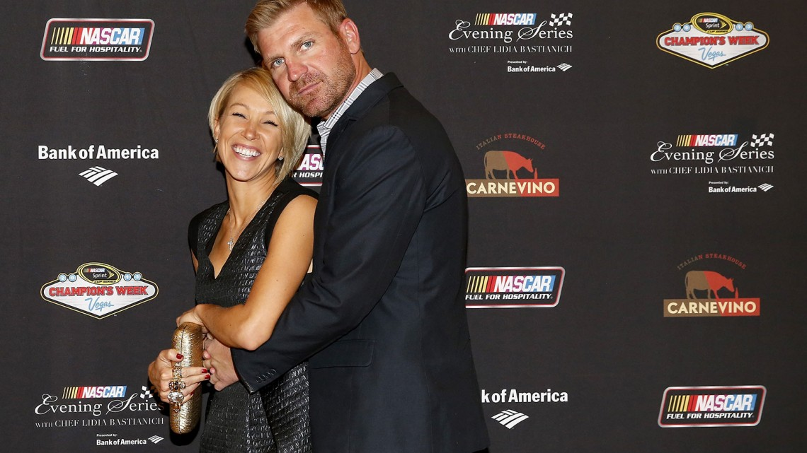NASCAR Sprint Cup Series driver Clint Bowyer and fiancé Lorra Podsiadlo pose for a picture at the NASCAR Evening Series Presented by Bank of America at Carnevino at The Palazzo Las Vegas on December 4, 2013 in Las Vegas, Nevada.  (Credit: NASCAR via Getty Images)