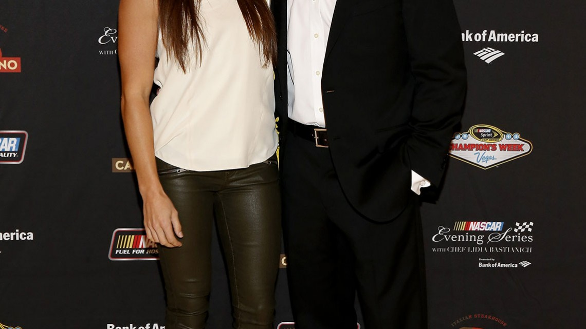 NASCAR Sprint Cup Series drivers Danica Patrick and Ricky Stenhouse Jr. pose for a picture at the NASCAR Evening Series Presented by Bank of America at Carnevino at The Palazzo Las Vegas on December 4, 2013 in Las Vegas, Nevada. (Credit: NASCAR via Getty Images)