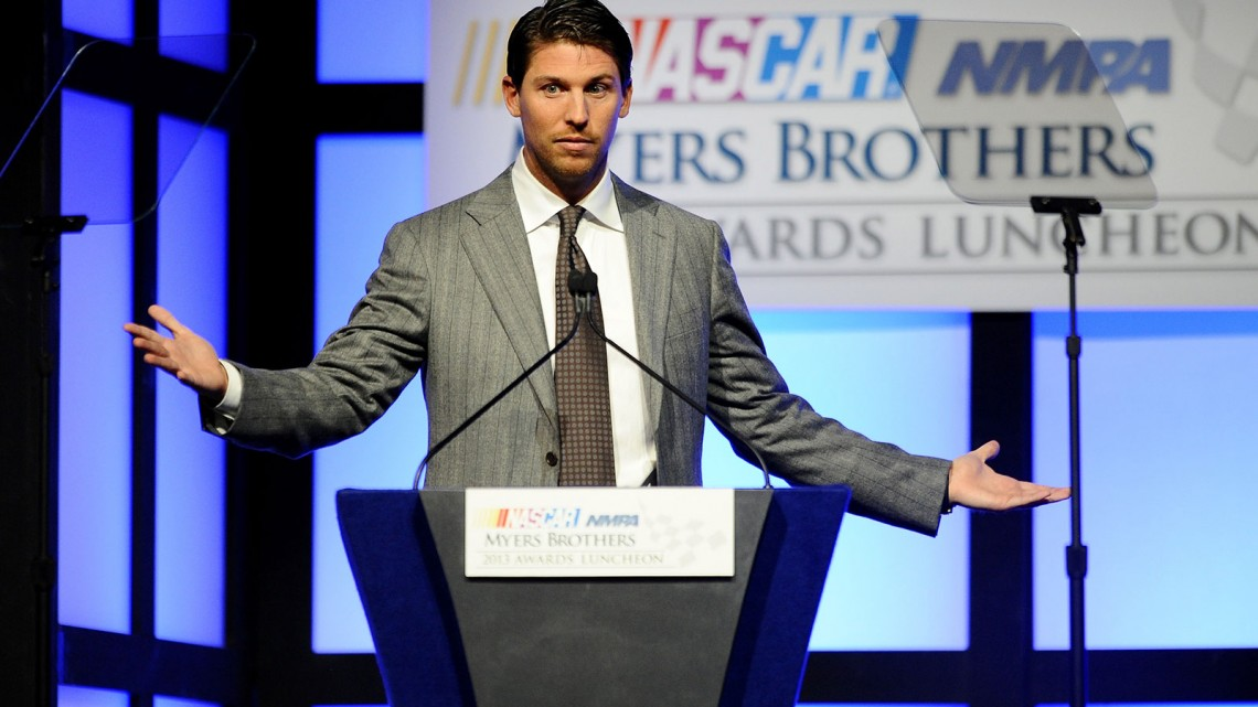 NASCAR Sprint Cup Series driver Denny Hamlin speaks onstage after winning the Coors Light Pole Award at the NASCAR NMPA Myers Brothers Awards Luncheon at the Encore Las Vegas on December 5, 2013 in Las Vegas, Nevada. (Credit: Jared C. Tilton/NASCAR via Getty Images)