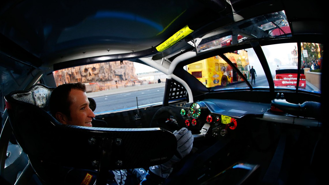 NASCAR Sprint Cup Series driver Kasey Kahne drives during NASCAR Victory Lap on the Las Vegas Strip on December 5, 2013 in Las Vegas, Nevada. (Credit: NASCAR via Getty Images)