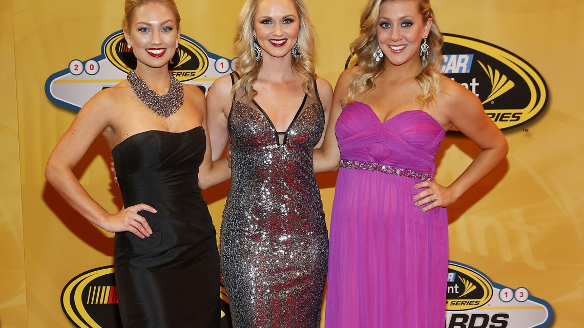 (L-R) Miss Sprint Cup Brooke Werner, Kim Coon and Jaclyn Roney arrive on the red carpet for the NASCAR Sprint Cup Series Champion's Awards at Wynn Las Vegas on December 6, 2013 in Las Vegas, Nevada. Credit: NASCAR via Chris Graythen/Getty Images)