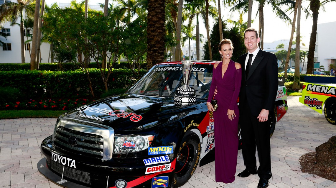 NASCAR Camping World Truck Series Champion Owner Kyle Busch poses with his wife Samantha during the NASCAR Nationwide Series/Camping World Truck Series banquet at the Loews Miami Beach on November 18, 2013 in Miami Beach, Florida. (Credit: NASCAR via Getty Images)