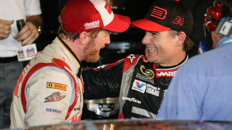 Dale Earnhardt Jr. (left), driver of the #88 National Guard Chevrolet SS, celebrates his victory with Hendrick Racing teammate Jeff Gordon, driver of the #24 Drive to End Hunger Chevrolet SS, Sunday, February 23, 2014, after winning the Daytona 500 at Daytona International Speedway in Daytona Beach, Florida. It is Earnhardt Jr.'s second Daytona 500 victory. (Photo by HHP/Harold Hinson for Chevy Racing)