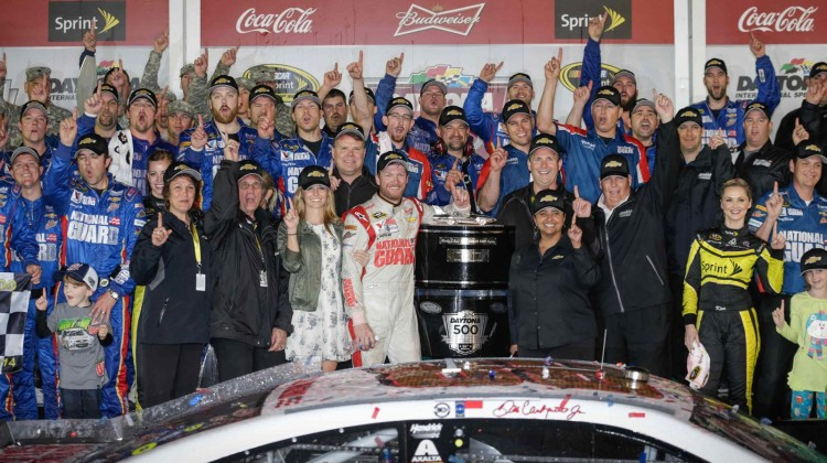 Dale Earnhardt Jr., driver of the #88 National Guard Chevrolet SS, celebrates his victory Sunday, February 23, 2014, winning the Daytona 500 at Daytona International Speedway in Daytona Beach, Florida. (Photo by HHP/Harold Hinson for Chevy Racing)