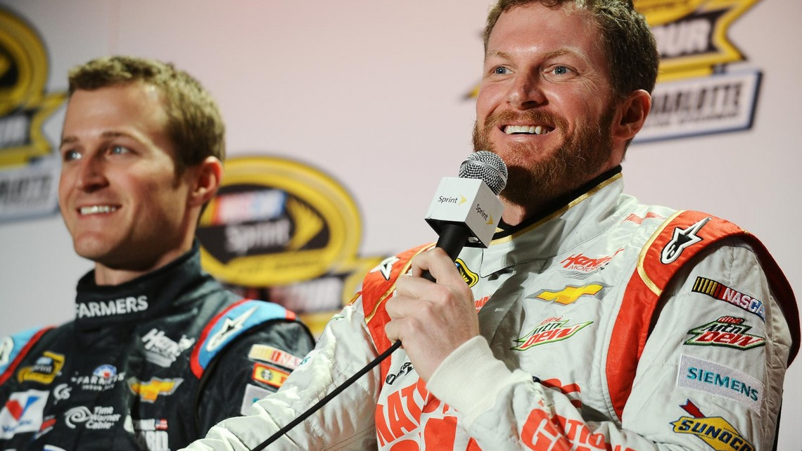 (L-R) Kasey Kahne, driver of the #5 Farmers Insurance Chevrolet; and Dale Earnhardt Jr., driver of the #88 National Guard Chevrolet during the NASCAR Sprint Media Tour at Charlotte Convention Center on January 28, 2014 in Charlotte, North Carolina. (Credit: NASCAR via Getty Images)